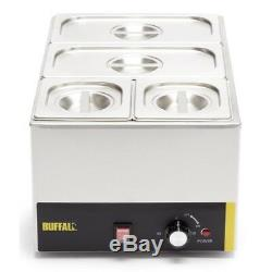 Buffalo Bain Marie With Pans Stainless Steel Cookware Electric Warmer Catering
