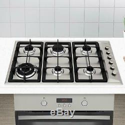 CDA HG9320SS 90cm Stainless Steel 6 Burner Gas Hob With Cast Iron Pan Stands