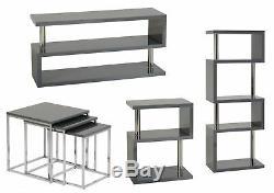 Charisma Grey Gloss & Chrome Furniture Range Shelves Tables TV Unit Sideboard