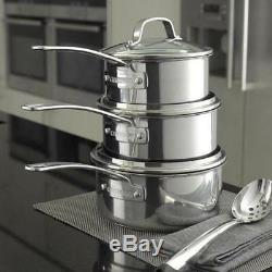 Circulon 77898 Genesis 4 Piece Saucepan Set With Glass Lids Stainless Steel Pans