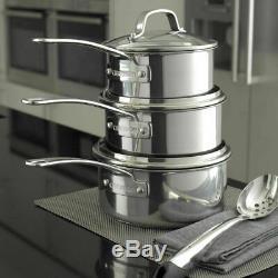 Circulon Genesis Stainless Steel Non-Stick 7 Piece Cookware Pan Set NEW