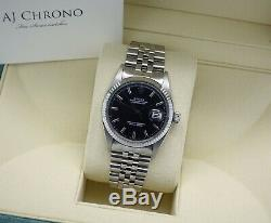 Classic Steel & 18ct WG Rolex Oyster Perpetual Datejust 1601 Black Pie Pan Dial
