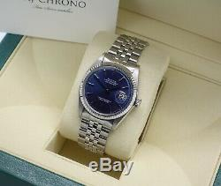 Classic Steel & 18ct WG Rolex Oyster Perpetual Datejust 1601 Blue Pie Pan Dial