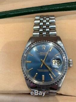Classic Steel Rolex Oyster Perpetual Datejust 1601 Blue Gold Pie Pan Dial Mint