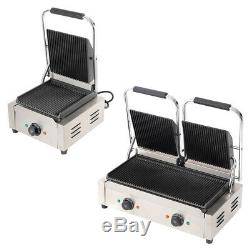 Commercial Iron Groove Panini Press Ribbed Toaster Sandwich Maker Grill Catering