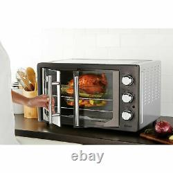 Convection Toaster Oven Broiler Oster 2 Door Durable Baking Pans 2 Rack Charcoal