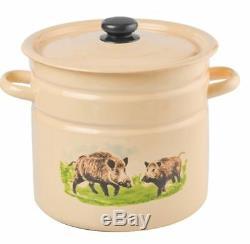 Deep Enamel Stainless Steel Stock Soup Pot 9L Stew Casserole Cooking Pan Cream