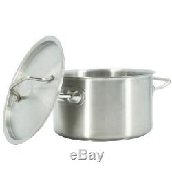 Deep Stainless Steel Stock Pot Cater Cooking Stew Large Soup Boiling Pan &Lid
