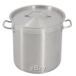 Deep Stock Pot Casserole Large Stew Soup Stainless Steel Cooking Boiling Pan Lid