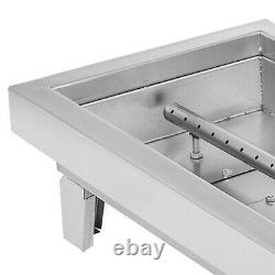 Drop-In Fire Pit Pan with Burner 8 Sizes BBQ Outdoor Natural Gas Rectangular DIY