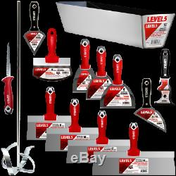 Drywall Finishing Tool Set 14pc SS CS Taping Knife Putty Knife Mud Mixer with Pan