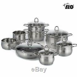 ELO 14 Piece Premium Stainless Steel Induction Cookware Silver Pots & Pans Set
