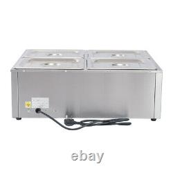 Electric 4-Pan Commercial Stainless Steel Bain Marie Wet Well Buffet Food Warmer