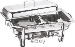 FOUR x STAINLESS STEEL CHAFING DISH LARGE TWIN PAN CHAFFING WARMER WARM CATER