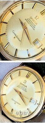 Great Vintage 1966 Omega Constellation Pie Pan Ss-pink Gold 35.5mm, Ref 168.004