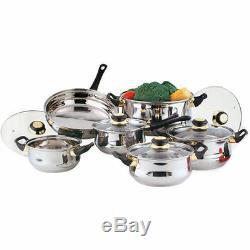 H Duty 12 Pcs Stainless Steel Cookware Cooking Saucepan Pot Pan Cook Cooker Set