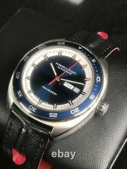 Hamilton Pan-Europe Day Date H354050 42mm Blue Dial Racing Strap Swiss Automatic