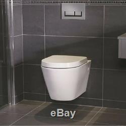 Ideal Standard Frame + Essential Rimless Wall Hung Toilet Pan & Soft Close Seat