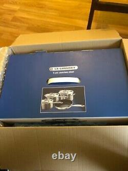 Le Creuset Stainless Steel 4 Piece Pan Set (with 3 x lids) BRAND NEW