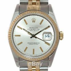 MINT Rolex DateJust 36mm Pie Pan 1601 Gold & Steel Stick Dial Jubilee Watch