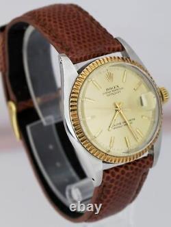 MINT UNPOLISHED 1969 Rolex DateJust 36mm 1601 Pie-Pan Champagne Two-Tone BP