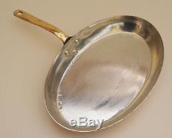 Mauviel 11 1/2 Copper Oval Frying Pan with Bronze Handle 1mm