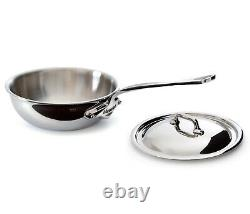 Mauviel M'Cook 1.7 qt. Stainless Steel Curved Splayed Saute Pan with Lid