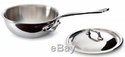 Mauviel M'cook 1.7 Qt Curved Splayed Saute Pan & Lid with Cast SS Handle 5212.21