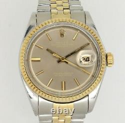 Mens Rolex Datejust 1601 Jubilee 36mm 18k Gold bezel Pie-Pan 1970