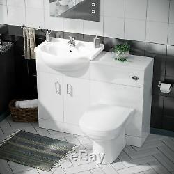 Modern 1050 Basin Sink White Vanity Unit Toilet Pan WC with Cistern Set Debra