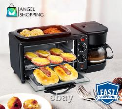 Multifunction 3 in 1 Breakfast Machine Toaster Oven Electric Pan Coffee Kitchen