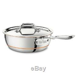 NEW All Clad 2 qt COPPER CORE Stainless Steel SAUCIER Pan Sauce Saute with LID