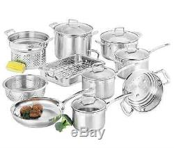 NEW SCANPAN IMPACT COOKWARE SET 10pc KITCHEN PIECE STAINLESS STEEL PAN COOKING