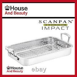 NEW Scanpan Impact 18/10 S/Steel Roasting Pan WithRack 42cm x 26cm! (RRP $169)