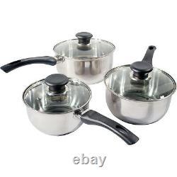 New 3pc Prima Stainless Steel Cookware Saucepan Pan Pot Set Kitchen Milk Cook