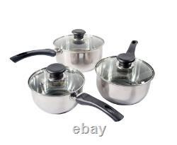 New 3pc Stainless Steel Cookware Saucepan Pan Pot Set Kitchen Milk Cook