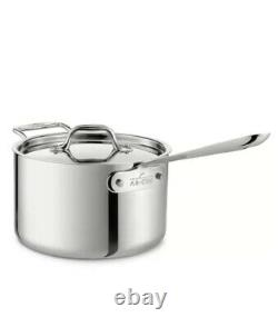 New All-Clad D3 Stainless Steel 4 Qt Quart Sauce Pan with Lid