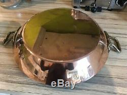 New French Mauviel Villendieu 32 Cm Copper Paella Pan, saute Pan