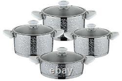 OMS 8 Piece Professional Casserole Pan Stock Pot Cookware Set 18/10 S/Steel 1027