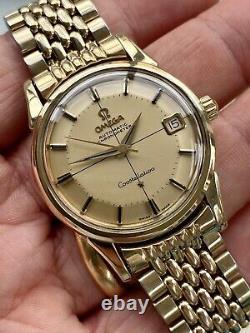 Omega Constellation Automatic Pie Pan vintage Gold Bracelet men watch Papers Box