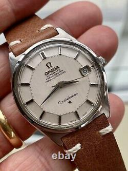 Omega Constellation Automatic Pie Pan vintage Steel Leather mens 1960s watch Box