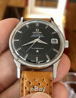 Omega Constellation Pie Pan Automatic black dial face vintage mens watch + Box