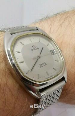 Omega Deville Stainless Steel Date Quartz beautiful dial pie pan style