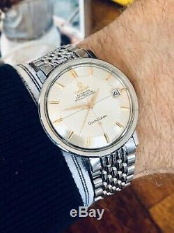 Omega Mens Constellation Rice Bracelet vintage Automatic Mens watch Pie Pan +Box