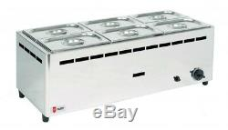 Parry BMF6C/G Natural or Propane Gas Wet Heat Bain Marie with Pans (Boxed New)