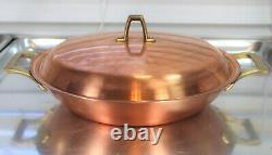 Paul Revere Ware USA Solid Copper Pot 10 Skillet Wok Rare Lid Fry Pan Paella