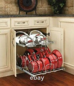 Pots Pans Lids Rack Kitchen Cabinet Organizer Cookware 21 Inch 2-Tier Pull Out