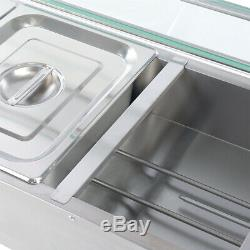 Pro Food Warmer With Glass Mesa & Lid Buffet Server Hot Plate 3/5 Pan Adjustable