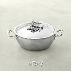 RUFFONI Opus Prima Hammered Stainless-Steel Chef Pan 4 Quart Olive Finial NEW