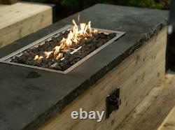 Rectangle Propane Gas Fire Pit Burner Pan Complete Set 780x380mm LARGE UK